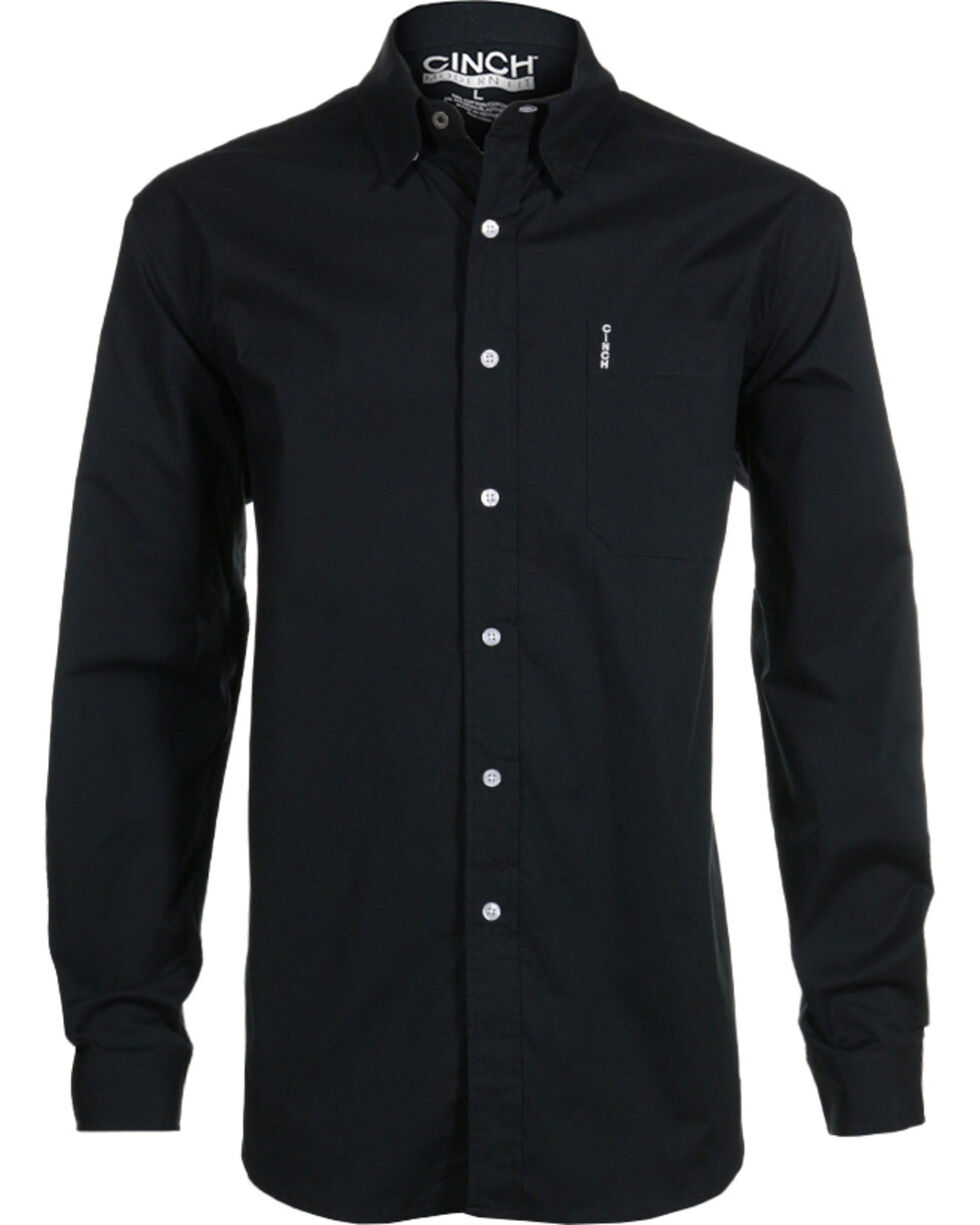 Cinch Men's Black Modern Fit Long Sleeve Western Shirt , Black, hi-res