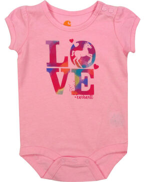 Carhartt Infant Girls' Pink Love Horses Onesie , Pink, hi-res