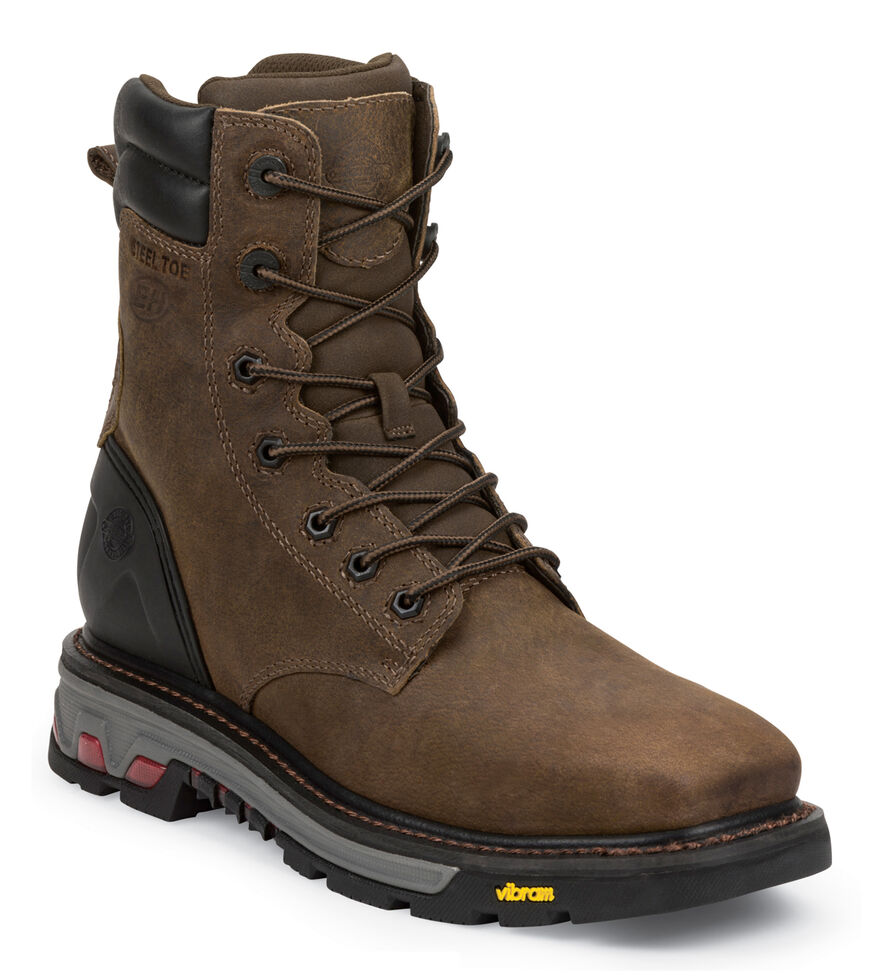 """Justin Men's Pipefitter Tobacco EH 8"""" Work Boots - Steel Toe, Timber, hi-res"""