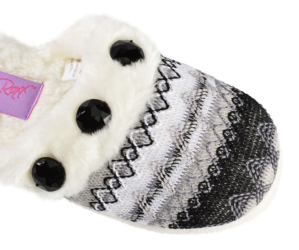 Blazin Roxx Girls' Colorful Woven Scuff Slippers, Blk/white, hi-res