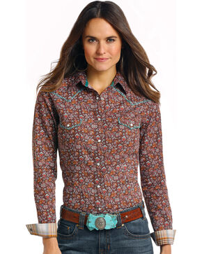 Rough Stock by Panhandle Women's Ganado Vintage Print Shirt, Brown, hi-res