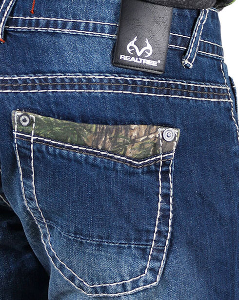 Realtree Men's Top Pocket Camo Faded Jeans - Boot Cut, Blue, hi-res