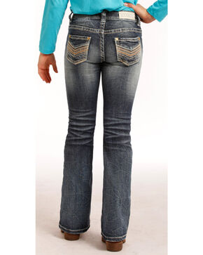 "Rock & Roll Cowgirl Girls' (7-14) Stitch ""V"" Jeans - Boot Cut  , Indigo, hi-res"
