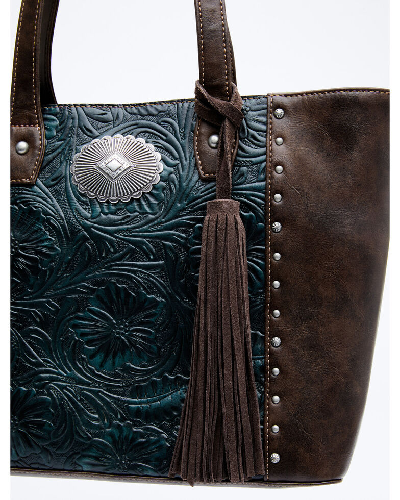 Shyanne Women's Cassidy Turquoise Tote Bag, Chocolate/turquoise, hi-res
