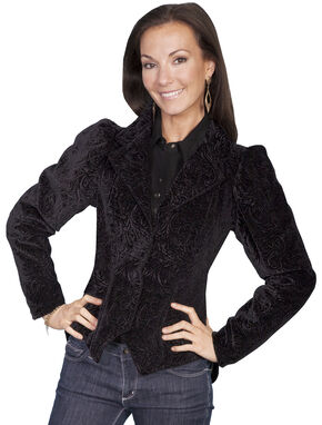 WahMaker by Scully Women's Embossed Velvet Coat, Black, hi-res
