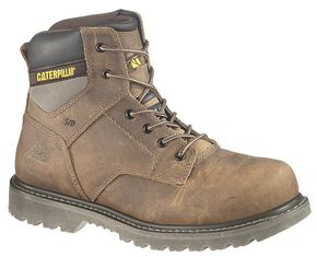 "Caterpillar 6"" Gunnison Lace-Up Work Boots - Steel Toe, Dark Brown, hi-res"