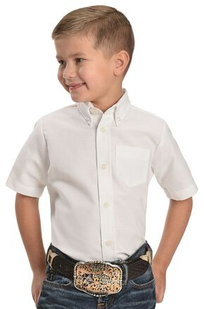 Dickies Boys' Oxford Short Sleeve Shirt - 10-16, White, hi-res