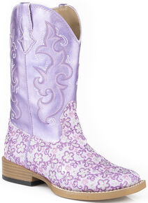 Roper Girls' Lavender Floral Glitter Cowgirl Boots - Square Toe , Purple, hi-res