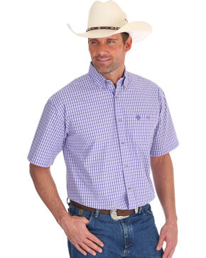 Wrangler Men's Purple George Strait Checkered Short Sleeve Shirt , Purple, hi-res