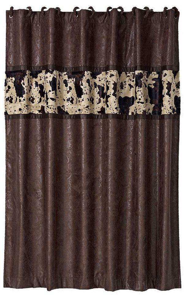 HiEnd Accents Caldwell Cowhide Shower Curtain Multi Hi Res