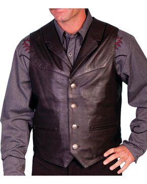 Scully Men's Lambskin Lapel Vest - Big, Black, hi-res