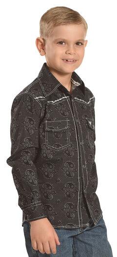 Cowboy Hardware Boys' Black Barbed Paisley Print Shirt , Black, hi-res