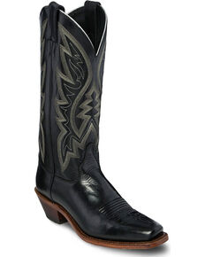 "Justin Bent Rail Women's 13"" Quinlan Black Cowgirl Boots - Square Toe, Black, hi-res"