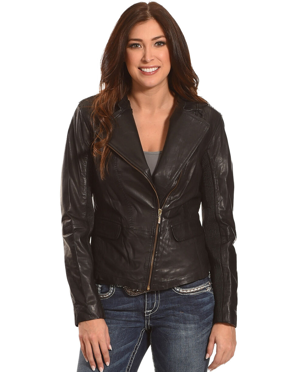 Scully Women's Black Short Leather Jacket , Black, hi-res