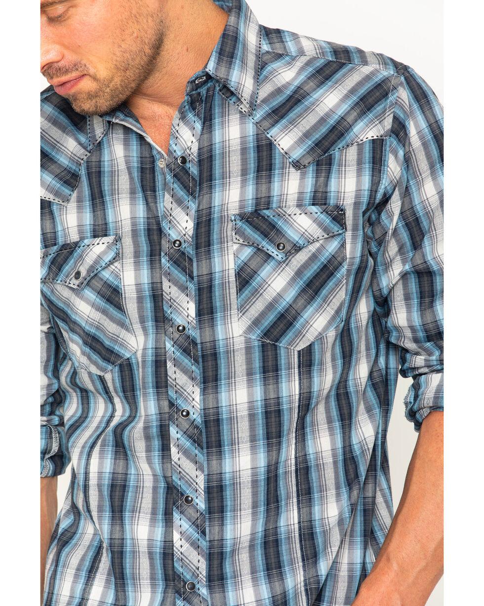 Wrangler Men's Black Plaid Fashion Snap Long Sleeve Shirt, Black, hi-res