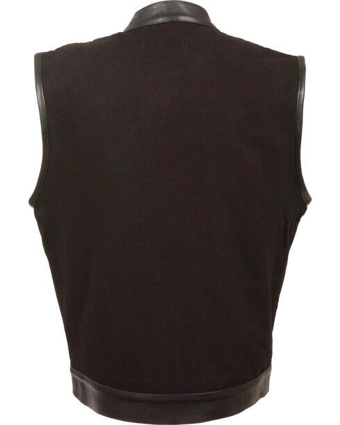 Milwaukee Leather Men's Black Denim Leather Trim Club Vest - Big 4X, Black, hi-res