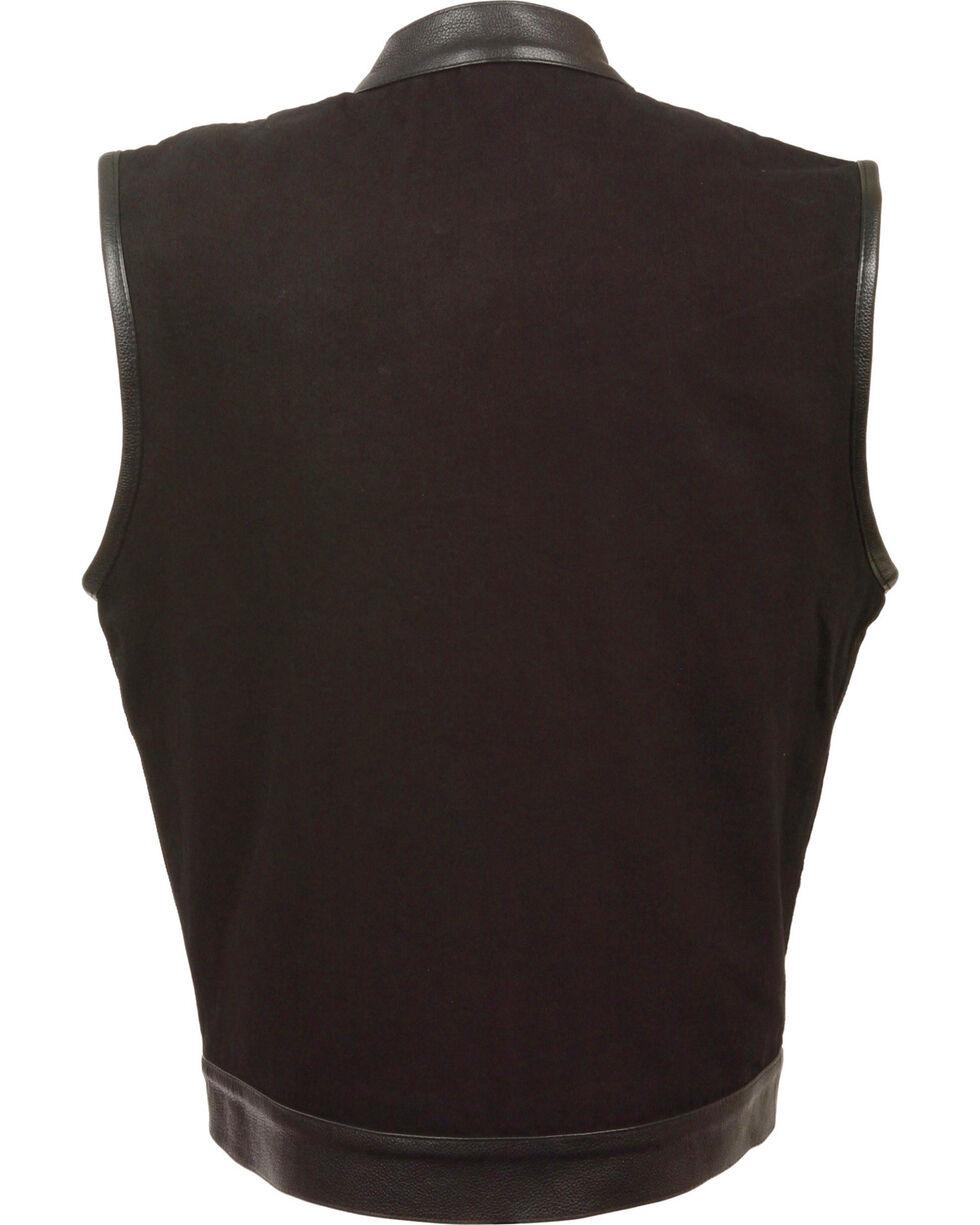 Milwaukee Leather Men's Black Denim Leather Trim Club Style Vest - Big 4X, Black, hi-res