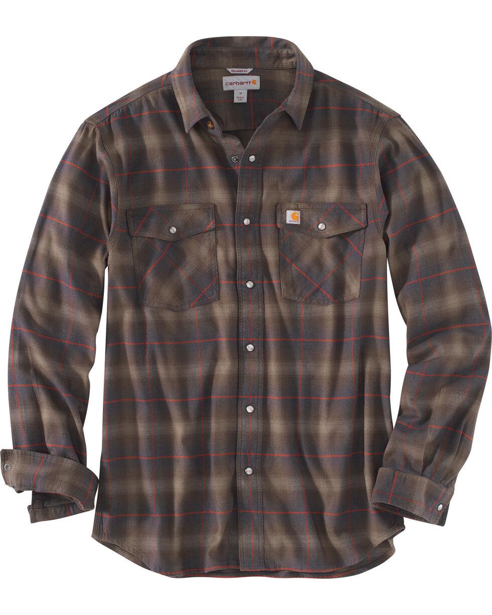 Carhartt Men's Red Rugged Flex Hamilton Snap Front Plaid Shirt, Dark Brown, hi-res