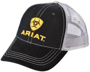 Ariat Black and White Mesh Logo Ballcap, Black, hi-res