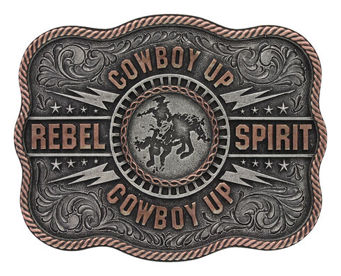 "Montana Silversmiths Men's Silver Scalloped Cowboy Up ""Rebel Spirit"" Buckle , Silver, hi-res"