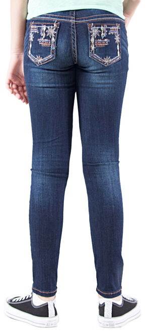 Grace in LA Girls' Dark Wash Floral Embellished Skinny Jeans , Indigo, hi-res