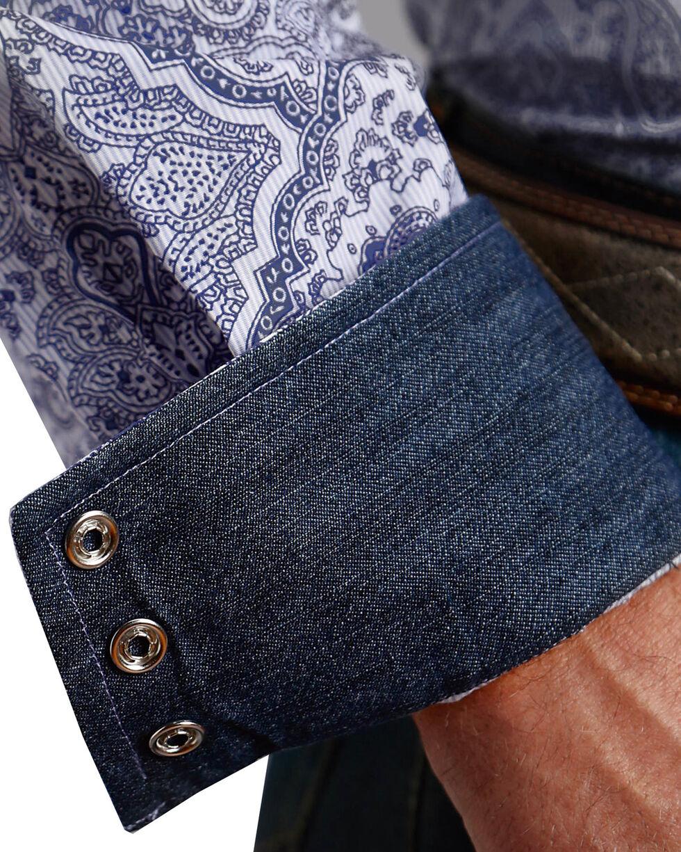 Stetson Men's Blue Pinstripe Paisley Print Shirt , Blue, hi-res