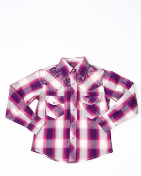 Cowgirl Hardware Girls' Hombre Plaid Long Sleeve Western Shirt, Pink, hi-res