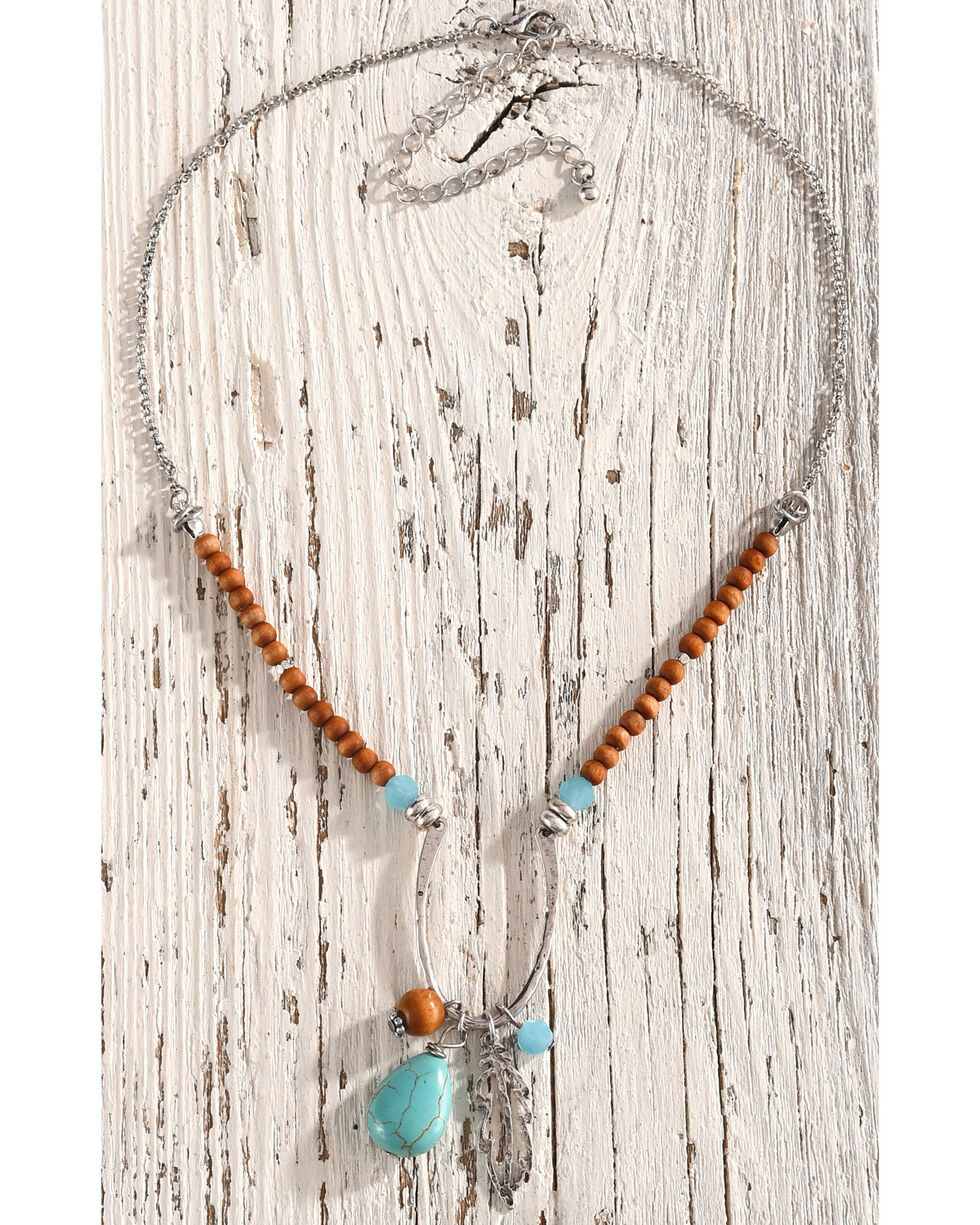 Shyanne Women's Beaded Feather Charm Necklace, Silver, hi-res