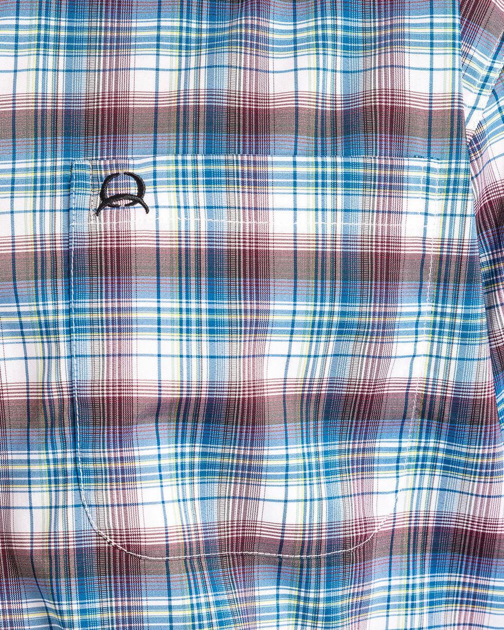 Cinch Men's ArenaFlex Plaid Short Sleeve Button Down Shirt , White, hi-res