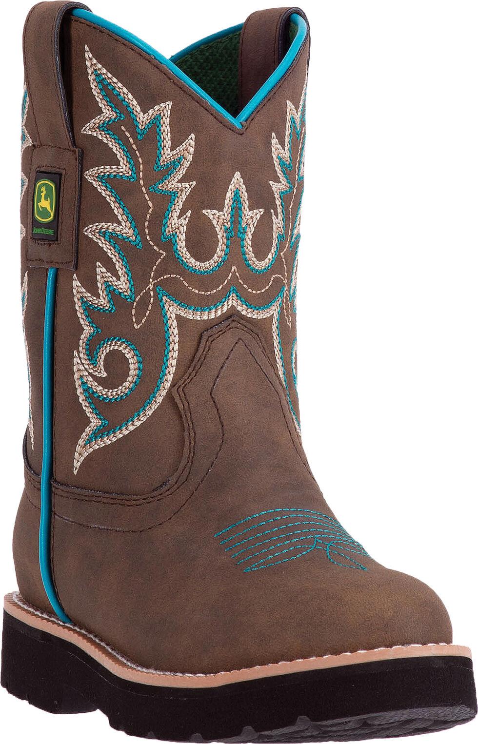 John Deere Kid's Tan Turquoise Cowboy Boots - Round Toe, Tan, hi-res