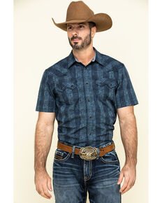 Cody James Men's Paisley Check Plaid Short Sleeve Western Shirt , Blue, hi-res