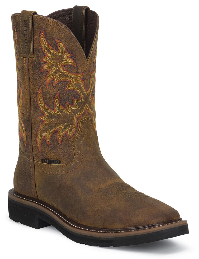 Justin Women's Sunney Pull-On EH Work Boots - Steel Toe, Brown, hi-res
