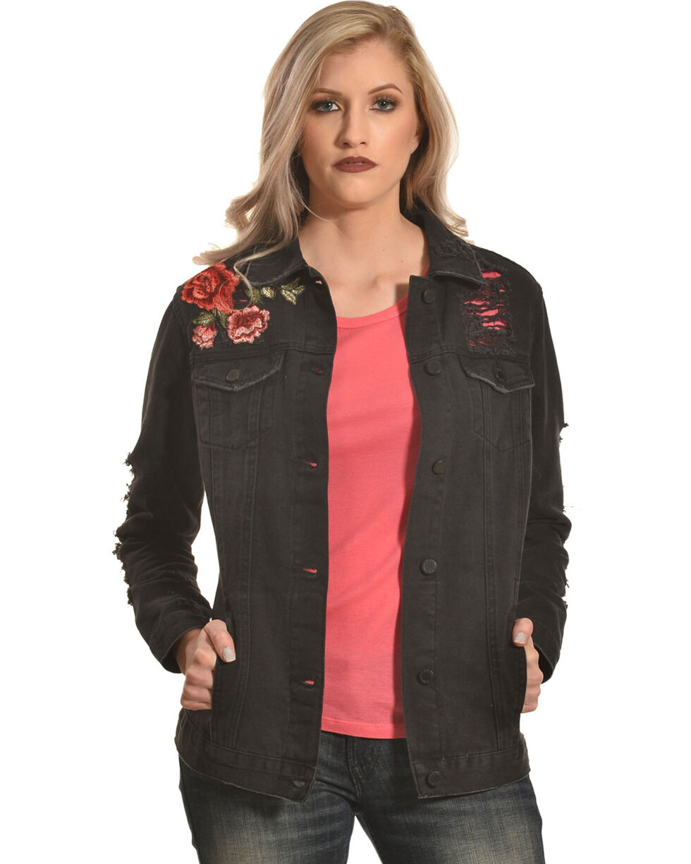 Boom Boom Jeans Women's Black Destructed Floral Denim Jacket , Black, hi-res