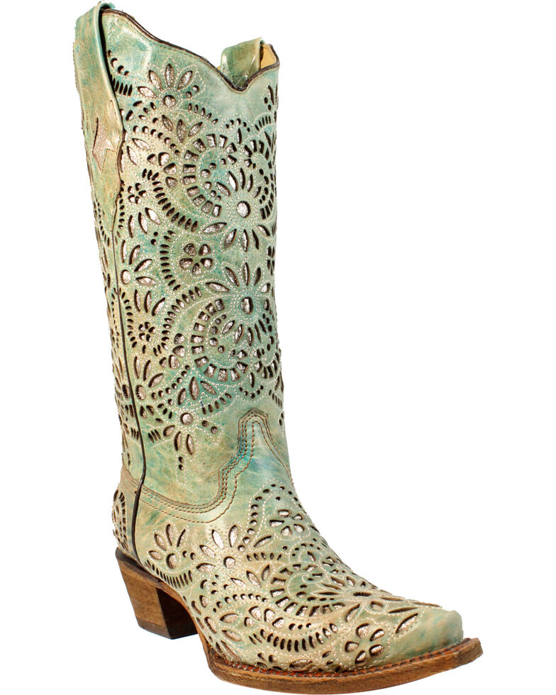 Corral Women S Blue Glitter Inlay Embroidered Cowgirl Boots Snip