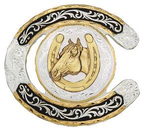 Montana Silversmiths Horseshoe Western Belt Buckle, Multi, hi-res