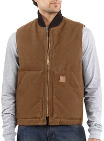 Carhartt Sandstone Work Vest - Big & Tall, Brown, hi-res