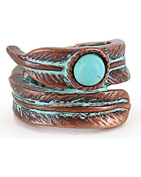 Shyanne® Women's Bronze and Turquoise Feather Stretch Ring, Turquoise, hi-res