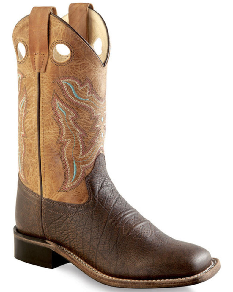 Old West Boys' Brown Cowboy Boots - Square Toe , Brown, hi-res
