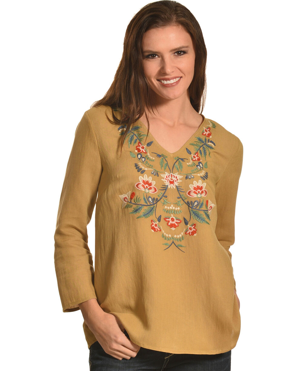 Polagram Women's 3/4 Sleeves Embroidered Top , Camel, hi-res