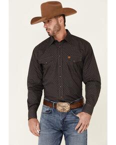 Cinch Men's Charcoal Large Geo Print Long Sleeve Snap Western Shirt , Charcoal, hi-res