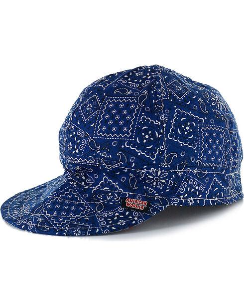 American Worker Men's Paisley Blue Welding Cap, Blue, hi-res