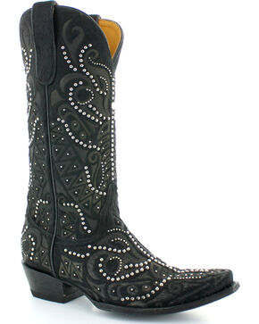 Old Gringo Women's Rowan Black Hair-On-Hide Studded Boots - Snip Toe , Black, hi-res