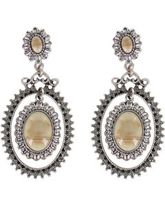 Shyanne Women's Floral Concho Earrings, Silver, hi-res