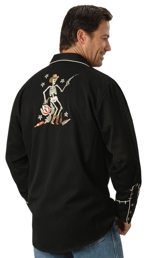 Scully Roses & Cowboy Skeleton Embroidered Retro Western Shirt - Big & Tall, Black, hi-res