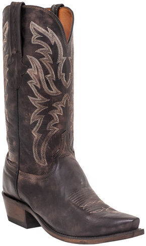 Lucchese Men's Handmade Milo Western Boots - Snip Toe , Dark Brown, hi-res