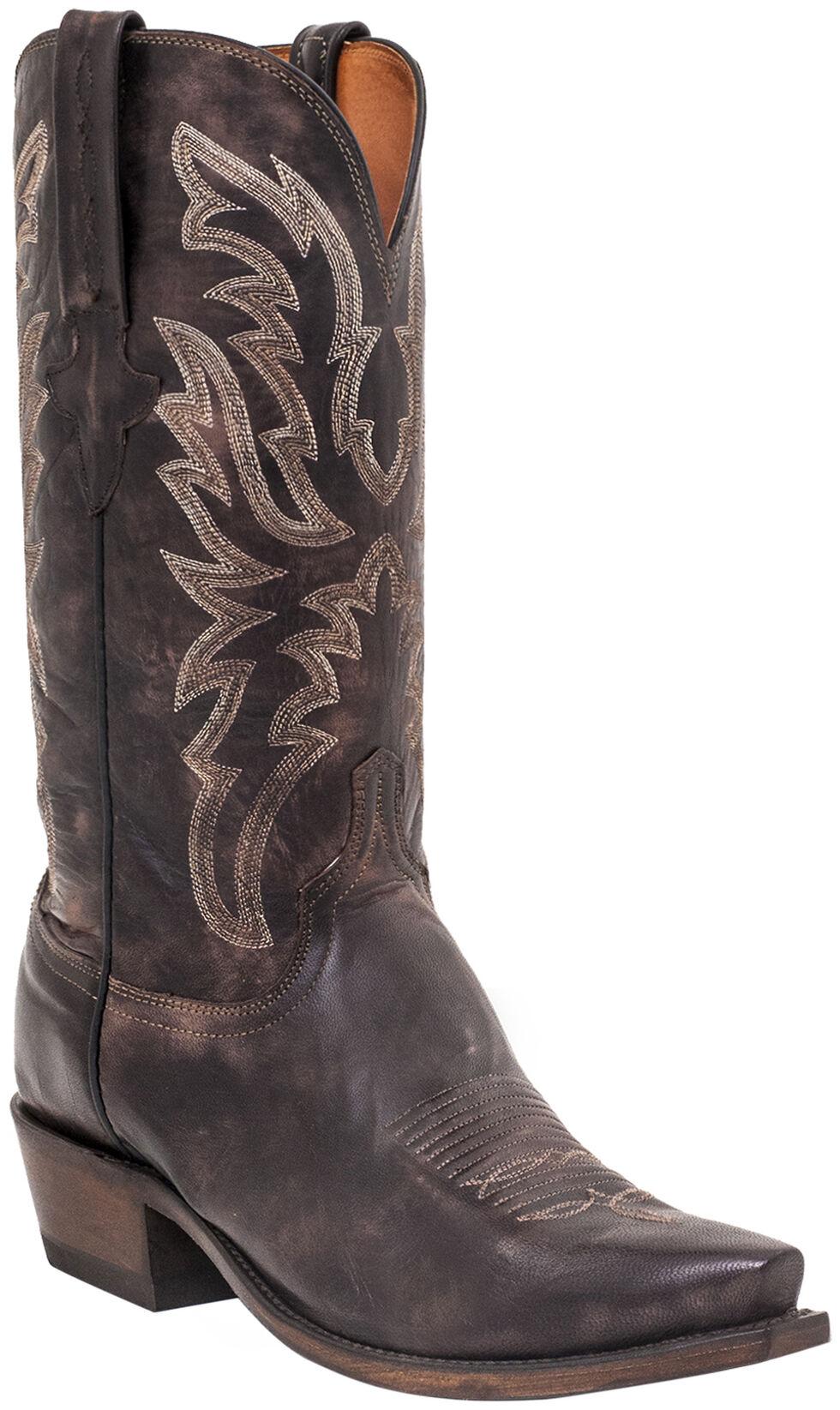 Lucchese Men's Handmade Milo Western Boots - Snip Toe , Dark Brown, hi-res