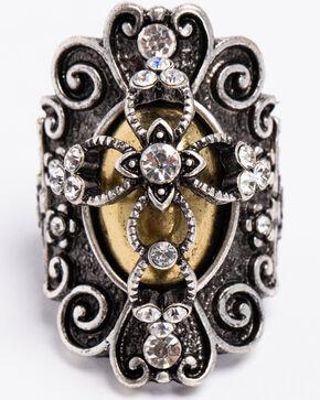 Shyanne Women's 2-Tone Filigree Cross Ring, Silver, hi-res