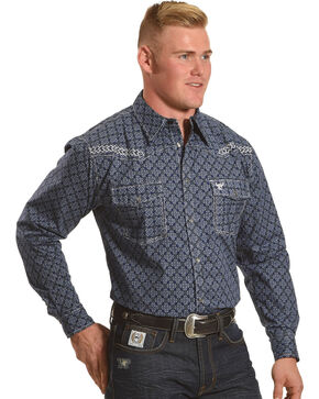 Cowboy Hardware Men's Navy Town Square Print Long Sleeve Shirt, Navy, hi-res
