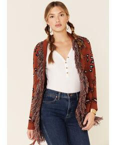 Cotton Emporium Women's Leo Paisley Belted Cardi Sweater , Rust Copper, hi-res