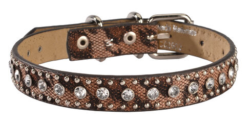Studded Leopard Print Dog Collar - S-XL, Brown, hi-res